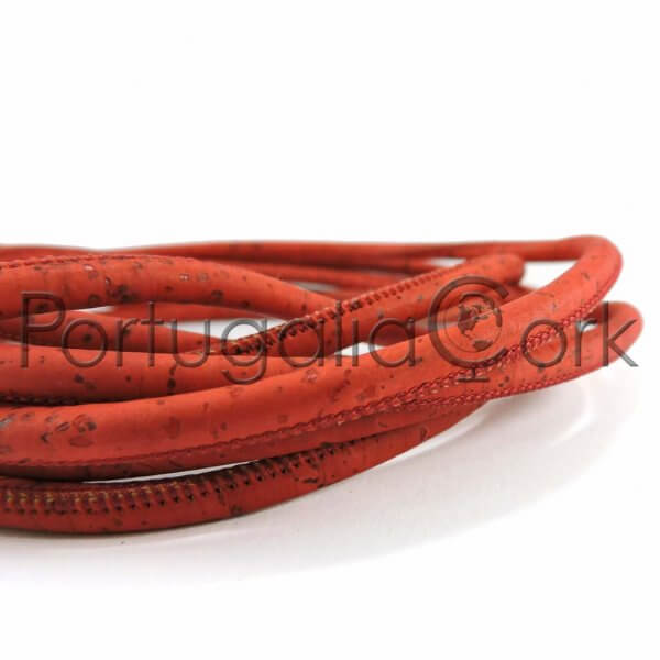Cork cord 5 mm red