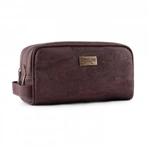 Cosmetic bag 2 zips brown